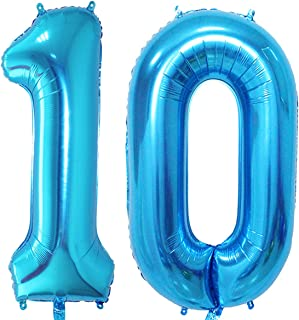 MAGJUCHE 40 inch Blue Foil 10 Helium Jumbo Digital Number Balloons,Blown up with Helium,10th Birthday Party Supplies Decoration for Girls or Boys