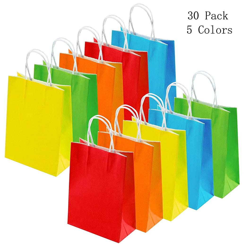 Dproptel 30 Pack Durable Kraft Paper Bags, Gift Treat Bags Shopping Bags Party Favor Bags, Snack Bags, Bread Bags, Takeout Bags with Handle, 100% Recycled Kraft Paper (Multi-Colors)