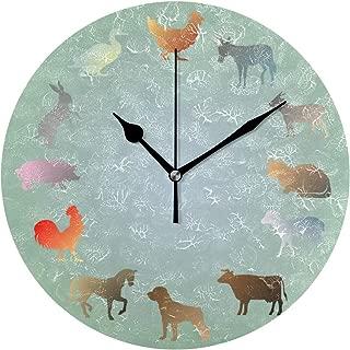 MIKA 家畜 置き時計・掛け時計 おしゃれ 連続秒針 静音 壁掛け時計 部屋 インテリア 掛時計 数字 玄関 25cm