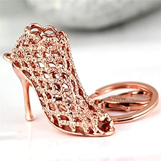 JewelBeauty Cute Lovely High Heeled Shoes Heels Rhinestone Crystal Keychain Charm Pendent Beautiful Accessories Best Gift for Girl Women Purse Charm Handbag Phone Bag Keyrings (Rose Gold Hollow)