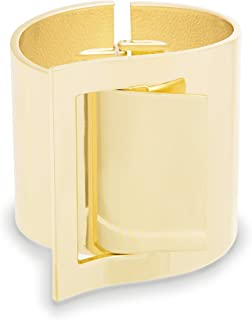 Steve Madden Yellow Gold-Tone Wide Metal Buckle Statement Cuff Bangle Bracelet for Women, one size (SMG80975GD)