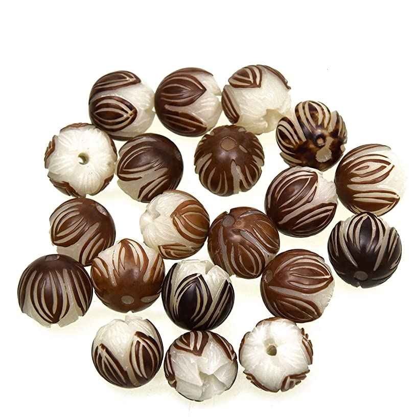 Monrocco 20Pcs Hand Carved White Bodhi Seed Lotus Flower Beads Wooden Craft Beads for Bracelets Necklace Jewelry Making