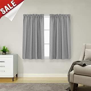 jinchan Tier Curtains Waffle Woven Half Window Curtain for Bathroom Waterproof Kitchen Window Treatment Set 72 by 45 Inch Grey One Pair