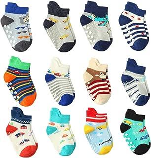 12 Pairs Baby Boy Socks Non Skid with Grips, Toddler Boy Anti skid Socks