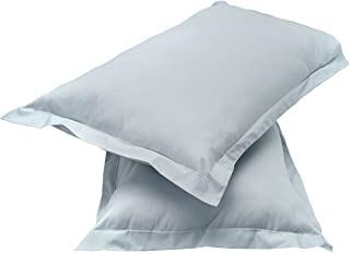 "Amazon Brand - Solimo Solid 144 TC 100% Cotton 2 Piece Pillow Covers(Not Pillow), 18""x 27"", Ash Grey"