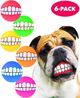 HAWWWY Funny Teeth Balls for Dogs, Fun Pet Toy with Human Smile Design and Squeaker, Nontoxic for Puppy Small Medium or La...