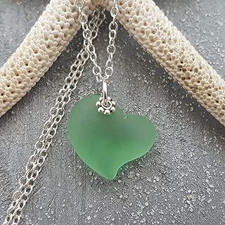 Handmade in Hawaii, Peridot Green Heart sea glass necklace,