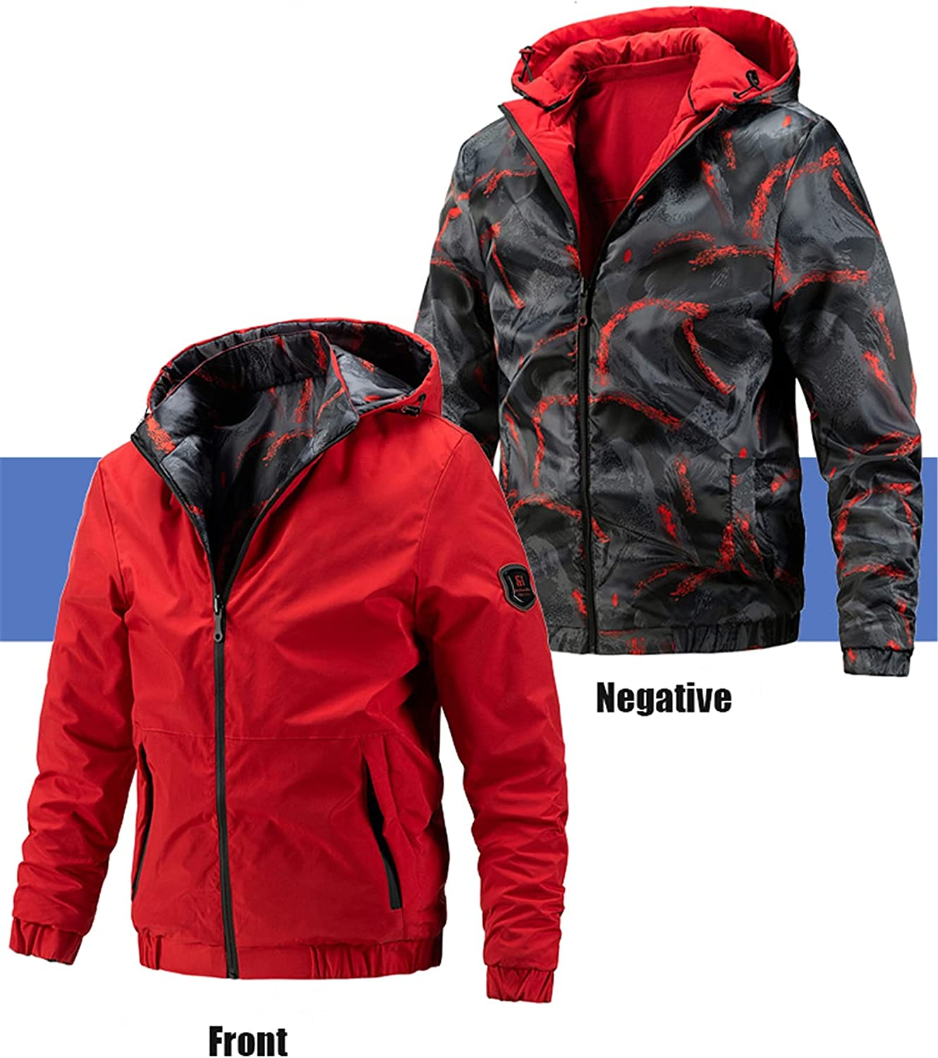 Mens Classic Hooded Jacket,Casual Reversible Outerwear,for Teenagers' Daily Outdoor Wear