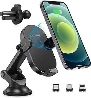 Automatisch Wireless Auto Charger, OMOTON Kabellose Auto Ladegerät, Handyhalterung mit Qi Ladefunktion 15W/10W/7,5W für iPhone und alle Qi Geräte. Magnetisch Fast Charge für alle 4.9 6.7 Zoll Handy.