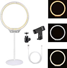 Zomei Tabletop Dimmable Halo LED Ring Light Portable Selfie 3200K-5500K Ring Light with Phone Holder for Makeup DSLR Camera iPhone Sumsang Phone YouTube Video Shooting(White)