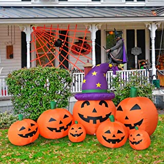 Outdoor Halloween Decorations Inflatables Yard Blow Up Decor Lawn Light Up Happy Pumpkin Family LED Light Up 9 feet x 4.5 ...