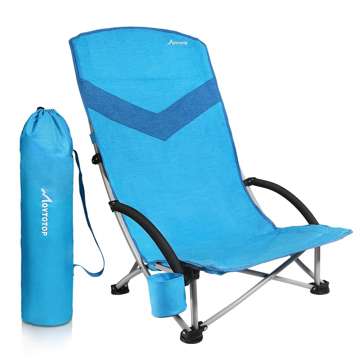 Asteri Low Beach Chair Camping Chair Foldable with Carry Bag 600D Oxford Fabric Breathable Mesh Back Blue//Black