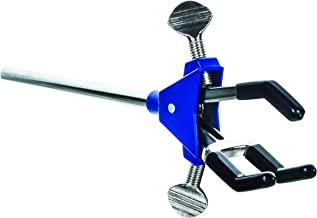 """3 Finger, Vinyl Coated Dual Adjustable Extension Clamp on Stainless Steel Rod - 2.3"""" Max Clamp Opening, 5"""" Rod - Powder Co..."""