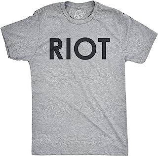 Riot T shirt Funny Shirts for Men Political Novelty Tees Humor (Grey) L