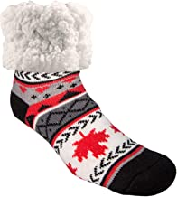 Pudus Cozy Winter Slipper Socks Women & Men w Non-Slip Grippers Faux Fur Sherpa