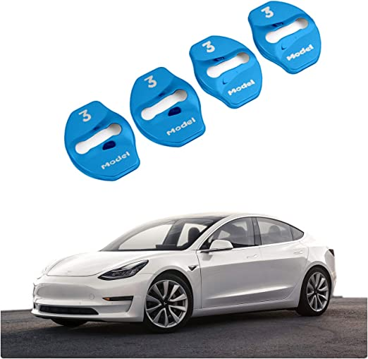 4 Stück Cdefg Model 3 Edelstahl Auto Türschlossabdeckung Door Lock Cover Zubehör Türverriegelung Abdeckung Blau Auto
