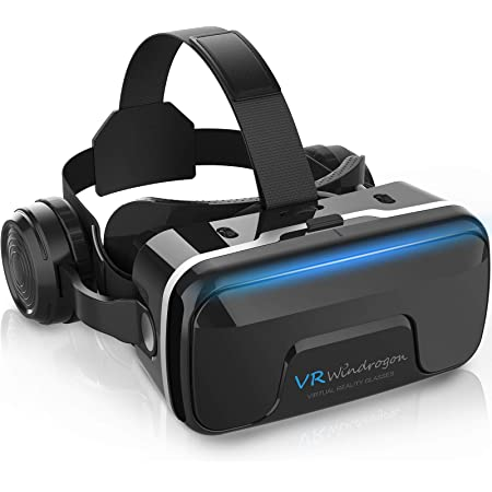VR Headset, WinDrogon VR Glasses for iPhone and Android Phones 3D Virtual Reality Headset Compatible with 4.7-6.5 Inch Smartphones with Good Heat Dissipation 120° Viewing Angle Eye Protection