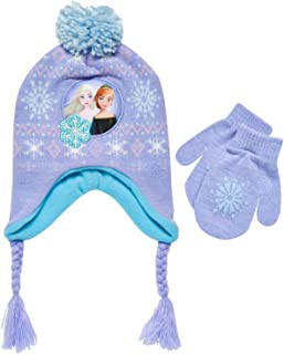 Little Girls Frozen Elsa and Anna Beanie Hat and Gloves...