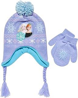 Disney Little Girls Frozen Elsa and Anna Beanie Hat and Gloves Cold Weather Set (Age 2-7), Size Age 2-4, Frozen Purple Mitten