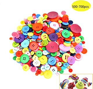 500-700 PCS Assorted Mixed Color Resin Buttons 2 and 4 Holes Round Craft for Sewing DIY Crafts Children`s Manual Button Painting,DIY Handmade Ornament