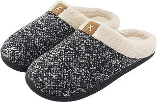 Men's Cozy Fuzzy Wool-Like Plush Fleece Memory Foam Slip-on Clog Winter House Shoes