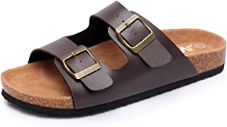 WTW Men's Slip on Flat Cork Sandals with Adjustable Strap Buckle Open Toe Slippers Suede Footbed
