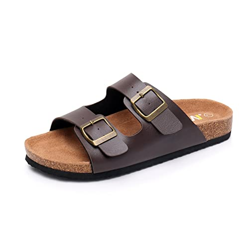 169f6f596a52 WTW Women s Arizona Flat 2 Strap Cork Sandals Soft Suede Footbed Slides