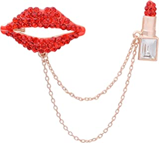 3bdb93689 OBONNIE Antique Red Crystal Sexy Lips Lipstick Makeup Cosmetics Enamel  Brooch Pins with Golden Chain