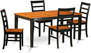 East West Furniture 5 Piece Table with Leaf and 4 Solid Wood Kitchen Chairs