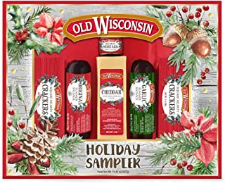 Old Wisconsins Sausage, Cheddar Cheese Bavarian Mustard and Old world Crackers Set Holiday Treats