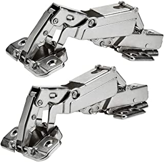 TamBee 175 Degree Hinges Frameless Cabinet Doors Hinges Concealed Hydraulic Adjustable Mounting Hinges Soft Closing Stainless Steel Buffer Dampers for Wardrobe,1 Pair (Full Overlay)
