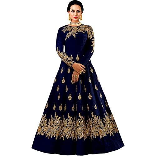 3347878894b42 Shree Impex Women's Embroidered Taffeta Silk Anarkali Gown (Freesize)