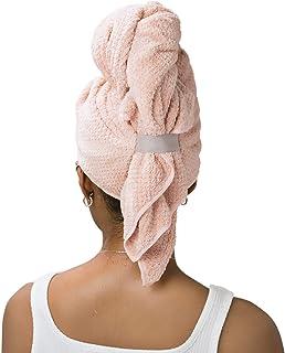 Toalla de microfibra VOLO Hero | Super absorbente, ultra suave, de secado rápido | Reduce el tiempo de secado en un 50% | Toalla grande de alta calidad para todo tipo de cabello | Anticongelación, anti-rotura, manos libres | Rosa nube