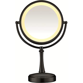 Conair Reflections 3-Way Touch Control Lighted Makeup Mirror, 1x/7x magnification, Matte Black