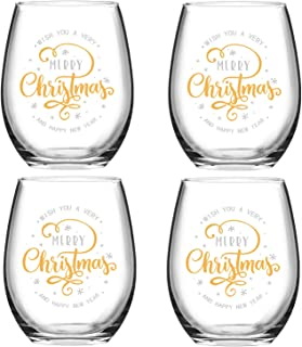 Wish You A Merry Christmas and Happy New Year Stemless Wine Glass Set, 15 Oz Funny Stemless Wine Glasses for Women Friends Men, Gift Idea for Christmas Wedding Party, Set of 4
