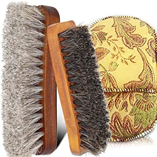 JTKDL Shoe Brush with Horsehair Brush for Shoes Boot Leather Multifunctional Home Shoes Brush Shoe Shine Kit Shoe Brushes Set of 2