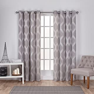Exclusive Home Montrose Ogee Geometric Textured Linen Window Curtain Panel Pair with Grommet Top, 54x108, Ash Grey, 2 Piece