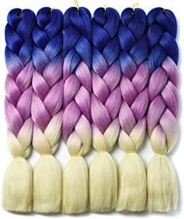 Ombre Braiding Hair Kanekalon Braiding Hair Synthetic Hair Extensions for Braiding Crochet Twist Box Braids 24 Inch 3 Tone Navy Blue to Peach-Red to Blonde 6 Packs Jumbo Braiding Hair