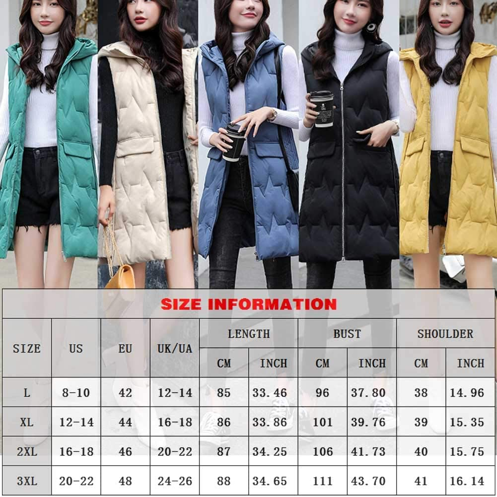 Women's Warm Padded Jacket with Hood Long Section of Female Slim Was Thin Down Cotton Vest Coat Thicker,Faux Fur Vests Gilet Sleeveless Jacket with Pockets, Ideal for Cold Weather,Yellow,XXXL