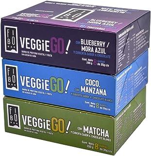Barras Veggie GO! con 6g de proteina VEGANA, TRES SABORES, 24 piezas