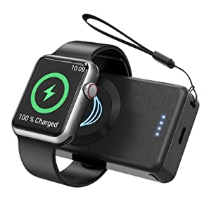 LVFAN Wireless Charger for Apple Watch, 4000mAh Portable iWatch Magnetic Charger Travel Charger Power Bank Battery Pack for Apple Watch Series 6,5,4,3,2,1,SE,44/42/40/38mm (Black)
