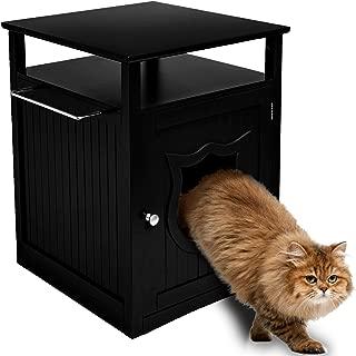 Sweet Barks Nightstand Pet House, Litter Box Furniture Indoor Pet Crate, Litter Box Enclosure, Cat Washroom, Black