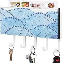 Clé murale - Crochet de clé mural, Porte-clé de courrier, Organisateur de clé de courrier, Motif de fond océan Point d'ent...