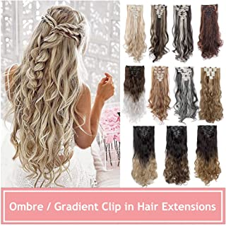 Ombre Clip in Hair Extensions Balayage Two Tones Highlighted 8PCS Clip on Synthetic Hairpiece Full Head Long Straight Wavy Hair for Women- 24