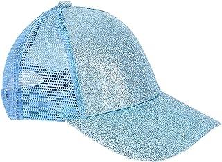NNAA Kids Baseball Cap with Shining Glitters Messy Bun Ponytail Hat Visor Cap for Girls