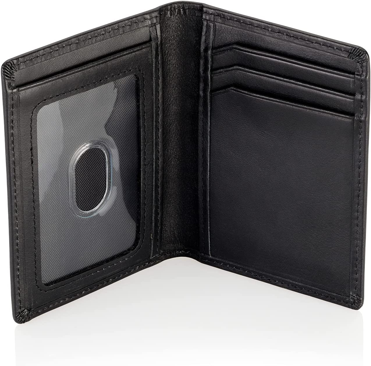 Stealth Mode Men's Slim Front Pocket Wallet - RFID Blocking, Thin Minimalist Bifold Design, Genuine Leather - ID Badge Window and 5 Sleeves for Money, Credit and Debit Cards, Driver's License - Black