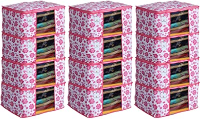 Heart Home 12 Piece Non Woven Saree Cover Set, Pink,Large Size, CTHH11714