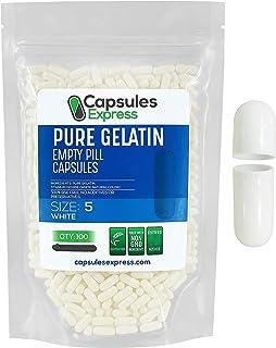 Capsules Express- Size 5 White Empty Gelatin Capsules - Kosher - Pure Gelatin Pill Capsule - DIY Powder Filling (100)
