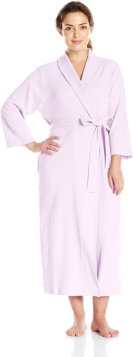 Casual Moments Womens 50  Waffle Wrap Robe Plus Bathrobe