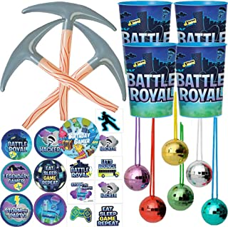 Battle Royal Video Gamer Birthday Party Favor Pack and Goodie Bag Fillers For 12 With Favor Cups, Inflatable Pick Axes, Stickers, Tattoos, Discoball Necklaces, and Exclusive Llama Inspired Pin